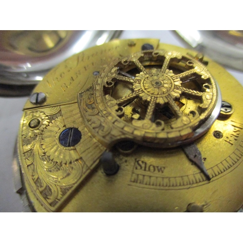 33 - A silver cased full Hunter pocket watch, the movement signed Thomas Strange, Banbury, with matching ...