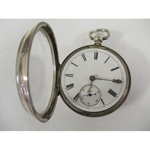 34 - An open faced silver pocket watch, the movement signed A H Drinkwater, serial number 13914, hallmark...
