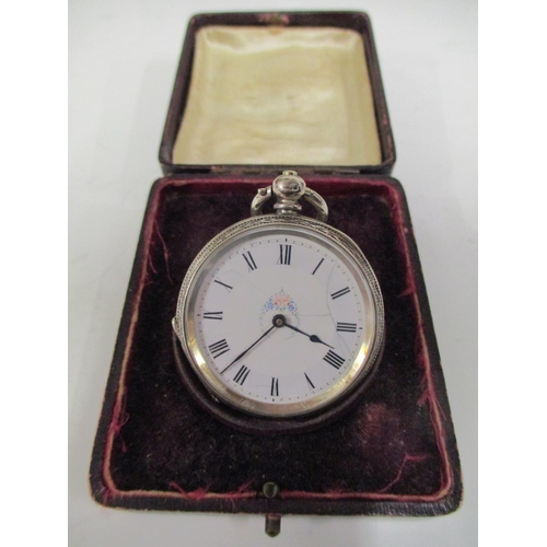35 - A ladies silver engraved fob watch, hallmark for Birmingham, case stamped J S, with a white enamelle...