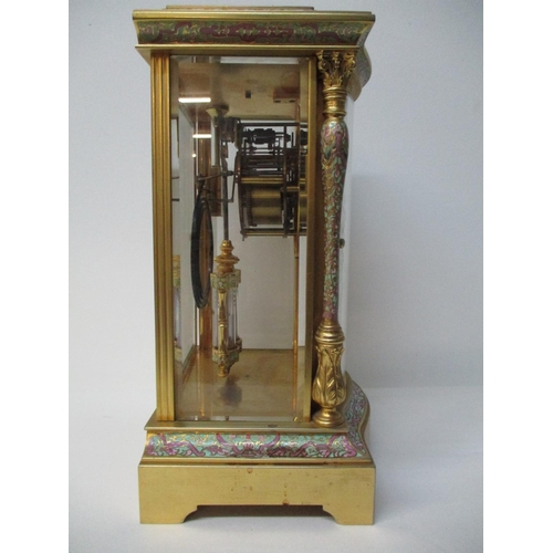 4 - A 19th century French cloisonne and brass, four glass mantle clock having jewel encrusted bezel, dou...