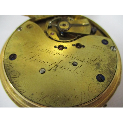 61 - An 18ct gold cased, open faced, manual wind chronograph pocket watch, the dial and lever movement si...
