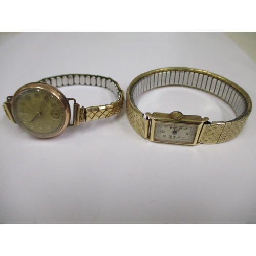 62 - Two ladies' 9ct gold cased vintage wristwatches, both with gold coloured and stainless steel expandi...