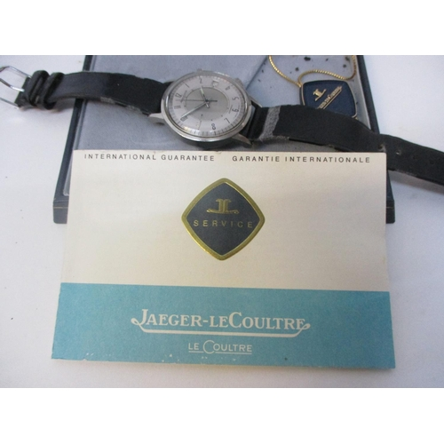 46 - A Jaeger-Le Coultre Memovex gents automatic alarm stainless steel 1970s wristwatch. The silvered dia...