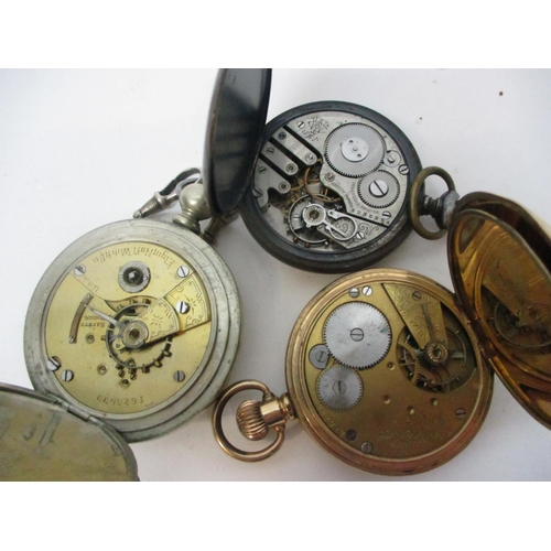 47 - Three late 19th century and later pocket watches to include a gold plated Prescot pocket watch havin...
