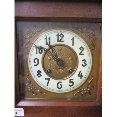 50 - A late 19th/20th century walnut cased wall clock surmounted by a rearing horse, gallery top with tur...