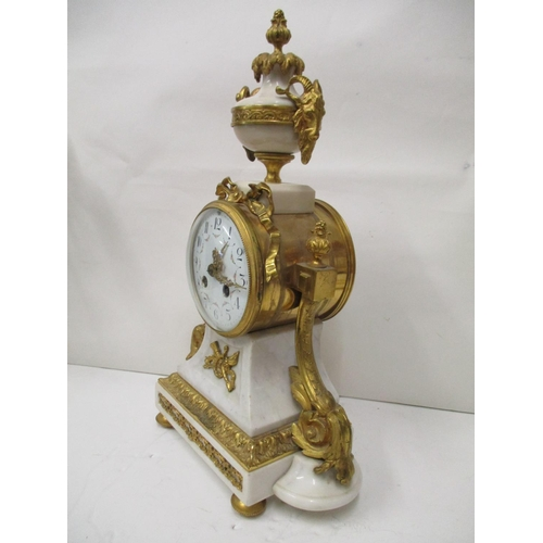 71 - A mid to late 19th century white Carrara marble and ormolu mounted clock set with white Carrara marb...
