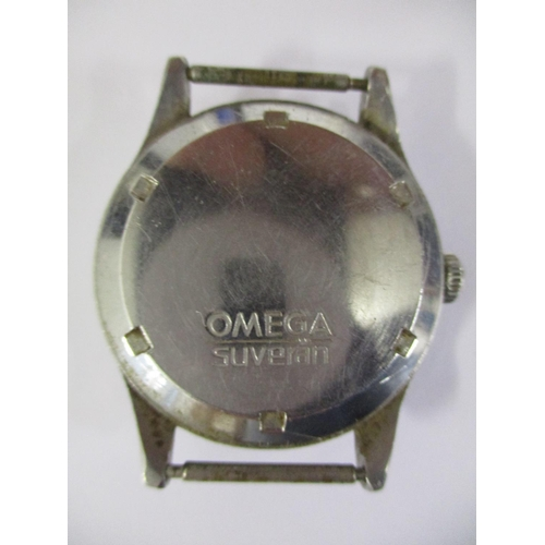 79 - A gents 1940s stainless steel Omega Suveran wristwatch with a silvered dial, luminous Arabic numeral...