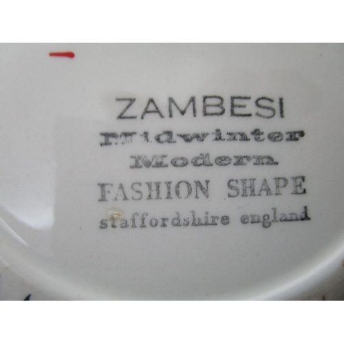 161 - Midwinter Zambezi pattern tea and dinnerware comprising a tureen and cover with a black factory mark...