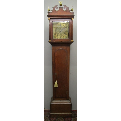 53 - A 30 hour oak cased, long case clock with brass dial, signed Blackburn Oakham, fitted with a bird-ca...
