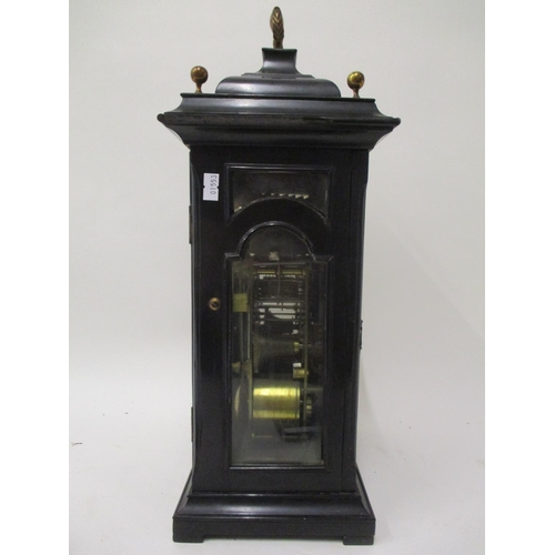 55 - A mid 18th century ebony triple fusee bracket clock by John Berry, London, chiming on eight bells. T...