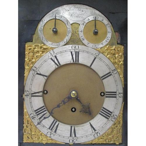 55 - A mid 18th century ebony triple fusee bracket clock by John Berry, London, chiming on eight bells. T...