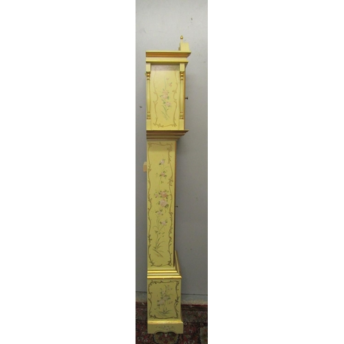 83 - A reproduction painted long case clock, the dial having an arched top, floral spandrels and Roman nu...