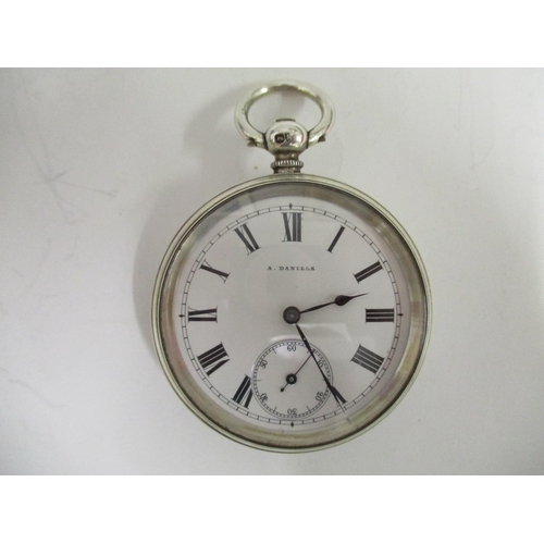 27 - An open faced silver cased pocket watch, the dial signed A Daniels, the case stamped 21964 AB (A Dan...