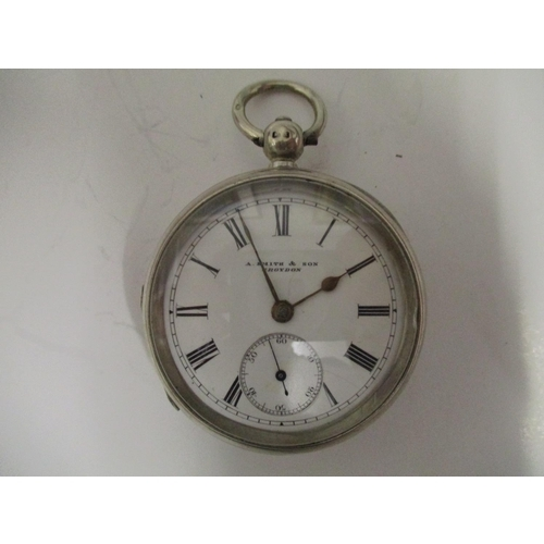 30 - An open faced silver cased pocket watch, the dial signed A Smith & Son, Croydon, the case stamped 89...