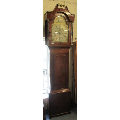 96 - A George III mahogany 8 day longcase clock by Thomas Vernon, London, having a brass arched top dial,...