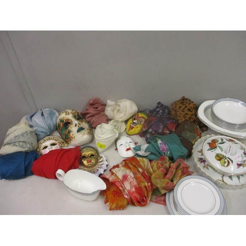 12 - A Worcester wall hanging vase, a selection of wall hanging masks and other items to include vintage ...