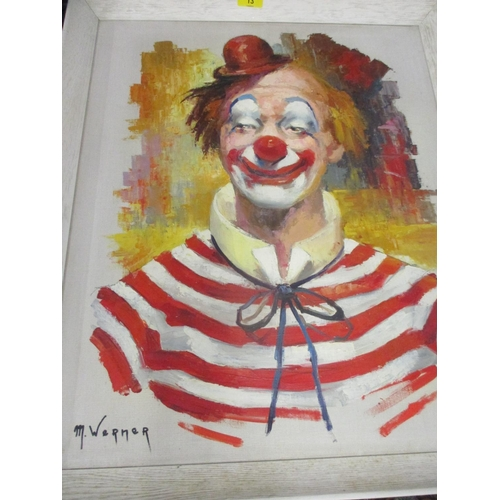 13 - Three pictures to include M Warner - a portrait of a clown and two limited edition nude portraits...