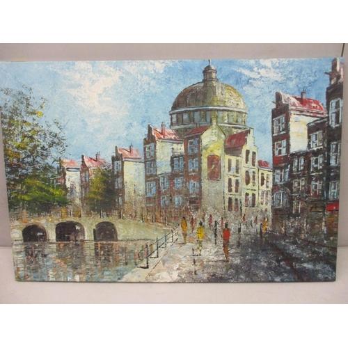 15 - J Legeling - a Dutch waterway scene, an oil on canvas, signed lower left hand corner, unframed...