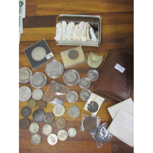 26 - A quantity of mixed coins to include old pennies, Crowns and a 1974 one dollar coin...