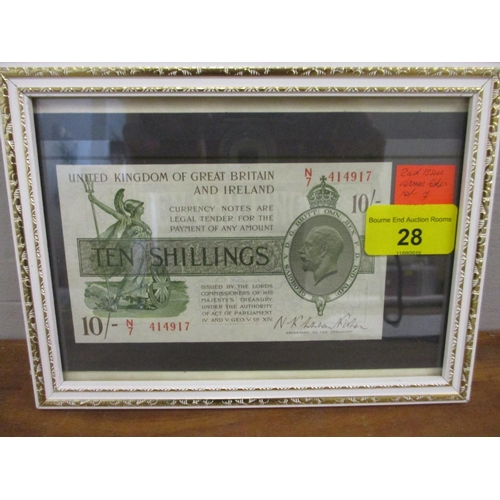 28 - A mint condition 2nd issue Warren Fisher Ten-Shilling note in a display frame...