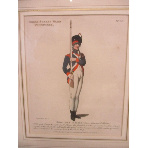 30 - An incomplete series of nine hand coloured prints depicting soldiers in arms...