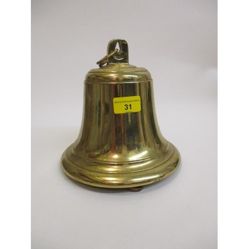 31 - A polished brass ships bell, 8 1/2