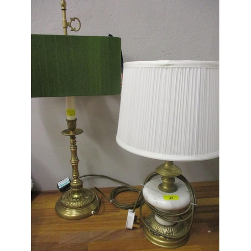 43 - A cast brass club lamp with a green silver shade and another brass and onyx lamp, pat tested and re-...