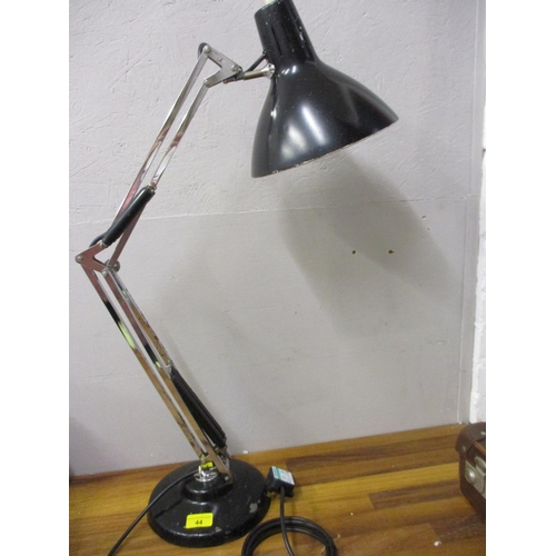 44 - A Luxo black painted and chrome anglepoise lamp, re-wired and pat tested...