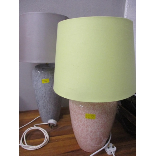 45 - A 1960s and similar 1980s mottled glazed china lamps, re-wired and pat tested...