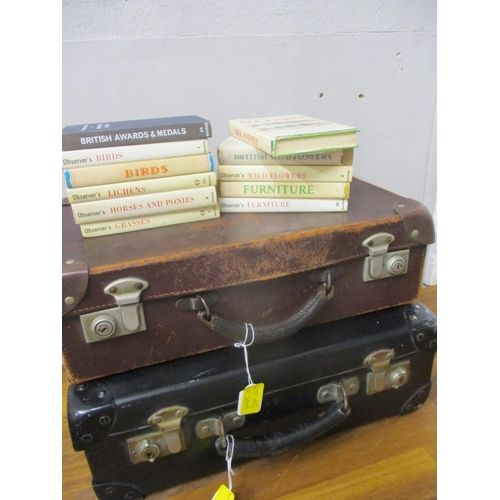 46 - Two late 1930s overnight vintage cases and eleven The Observer's Books...