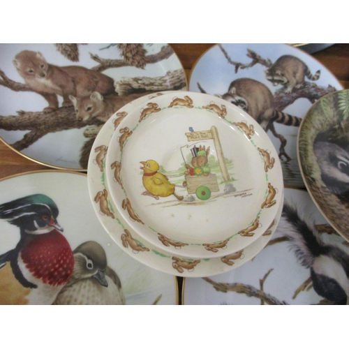 47 - Royal Doulton Bunnykins ceramics, decorative porcelain plates, metal wall hanging plates and others...