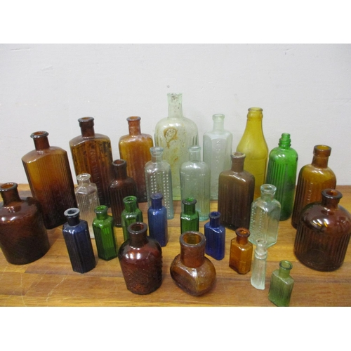 50 - A collection of Victorian and later glass poison and other bottles...