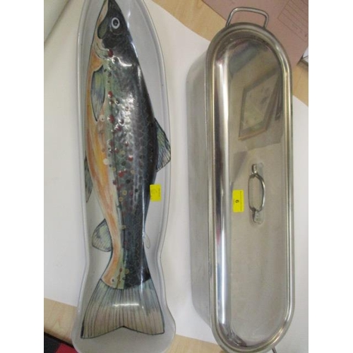 6 - A stainless steel fish kettle and a ceramic fish plate, 25