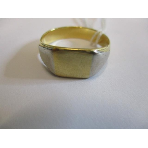 59 - An 18ct gold signet ring marks rubbed, 7.70 gms...