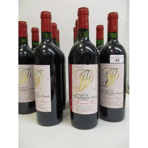 43 - Twelve bottles of 1998 Domaine du Haut-Poulvere tirecul Bergerac Rouge Location 1.4...