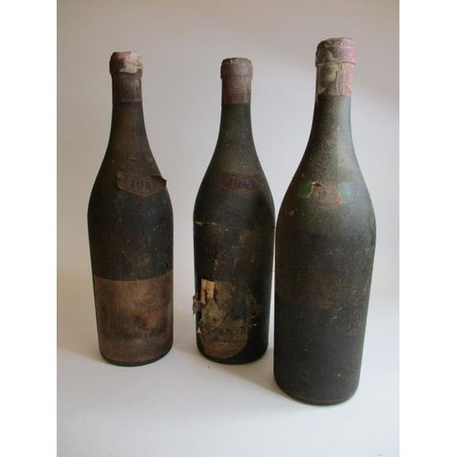 46 - Three bottles of Bouchard Aine and Fils Bourcogne 1947, 1949 and 1957 A/F Location ROS...
