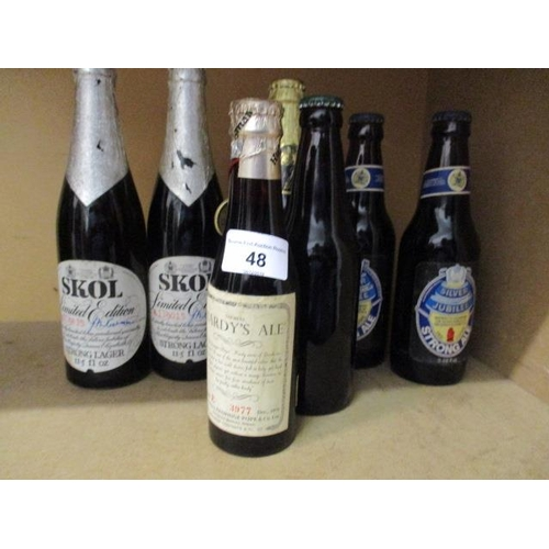 48 - Seven bottles of 1977 Silver Jubilee Ale to include two bottles of Skol limited edition, each signed...