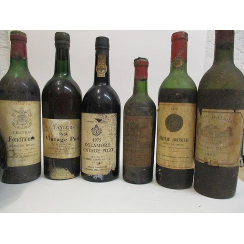 53 - Mixed bottles to include Dolamore 1975 Port, Taylors 1966 Port Chateau Batailley 1957 Pauillac A/F L...