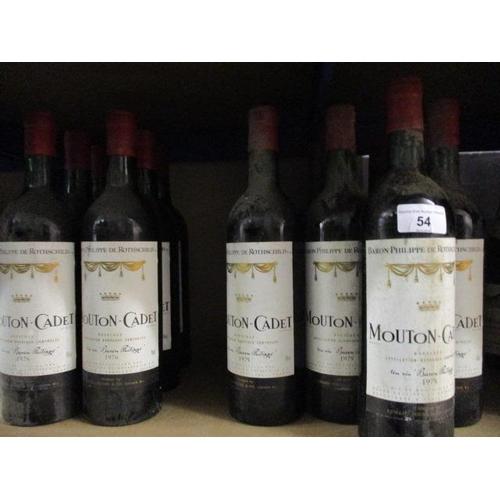 54 - Sixteen bottles of Mouton-Cadet Bordeaux, 6 x 1976, 10 x 1975 Location RWM...