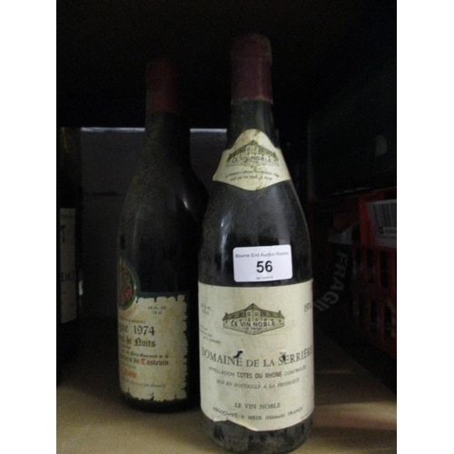56 - Mixed bottles to include Cotes De Rhone 1974 Location 7.1...