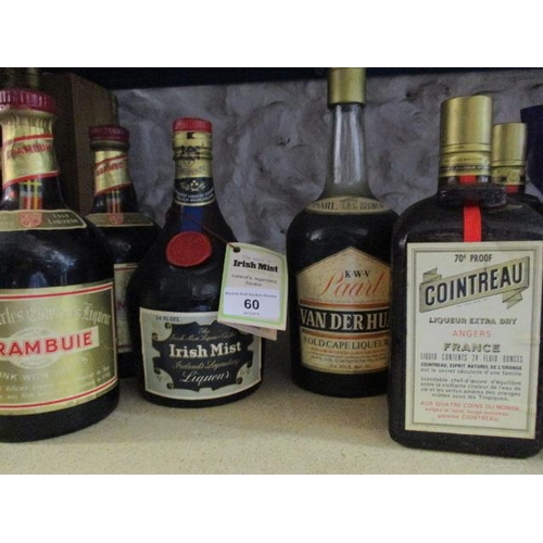 60 - Six bottles of liqueurs to include Cointreau Location 6.4...