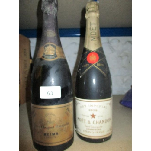 63 - Two bottles of Champagne to include Veuve Clicquot Ponsardin 1969 and Moet & Chandon 1975 Location R...