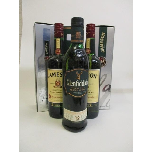 10 - Three boxed Whiskys to include one Glenfiddich 70cl and two bottles of Jamesons Whisky 700ml each Lo...