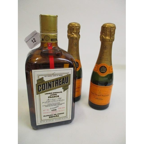 12 - One bottle of Cointreau and two half bottles of Veuve Clicquot Ponsardin Champagne Location SL...