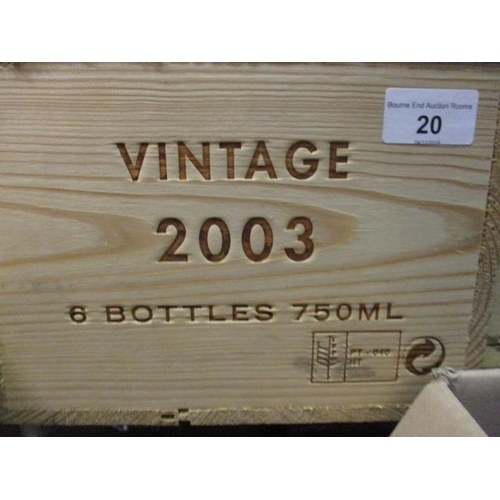 20 - Six cased bottles Niepoort, 2003 vintage, 750ml Location 3,2...