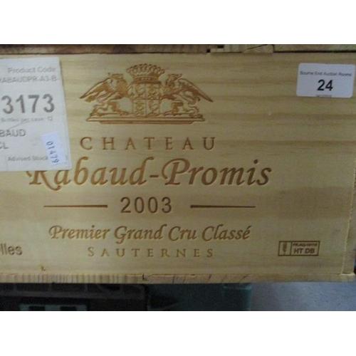 24 - Twelve cased bottles of Chateau Rabaud-Promis 2003 Sauternes Premier Grand Cru Classe Location RAM...