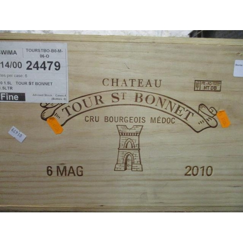 27 - Six cased magnums of Chateau Tour St Bonnet Cru Bourgeois Medoc 2010 Location 11.5...