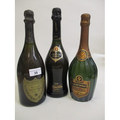 35 - Three bottles of Champagne to include Dom Perignon Vintage 1980, 1979 G H Mumm, 1979 La Grand Dame V...