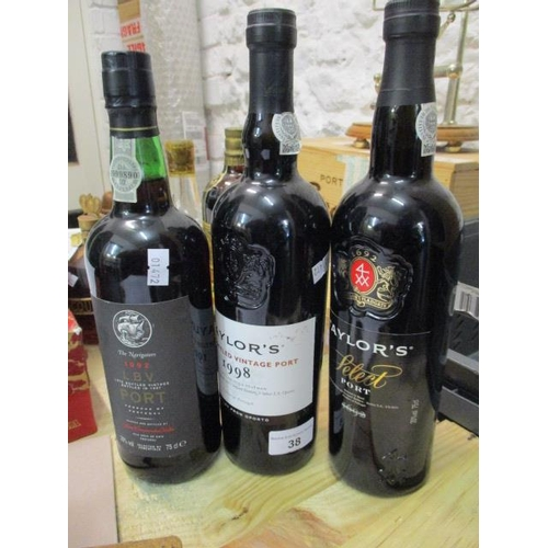 38 - Three bottles of Port to include Taylors late bottled vintage 1998, Nowaters LVV 1992 and Taylor Sel...