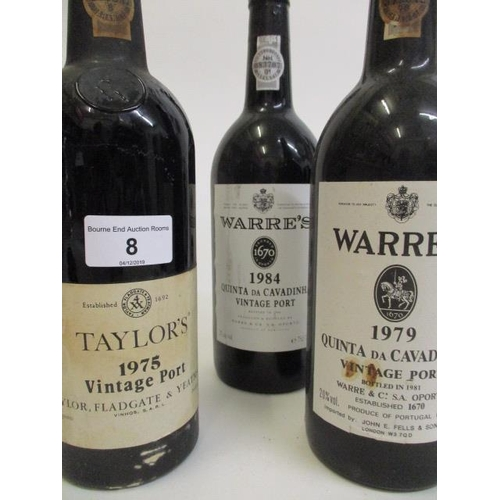 8 - Three bottles of vintage Port to include Warres 1979 and 1984 and Taylors 1975 Location 1.3...